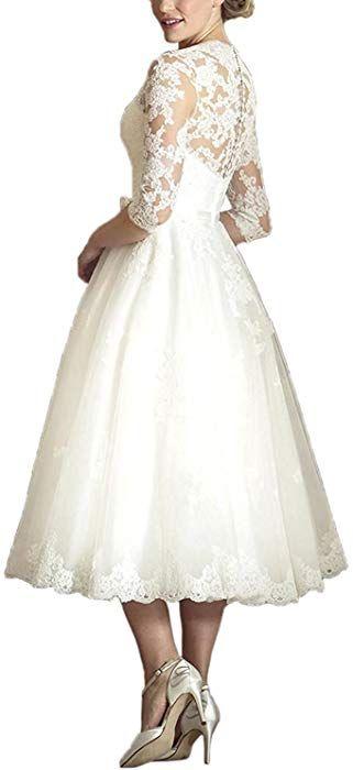 YASIOU Hochzeitskleid Elegant Damen Weiß Tee-lang ...