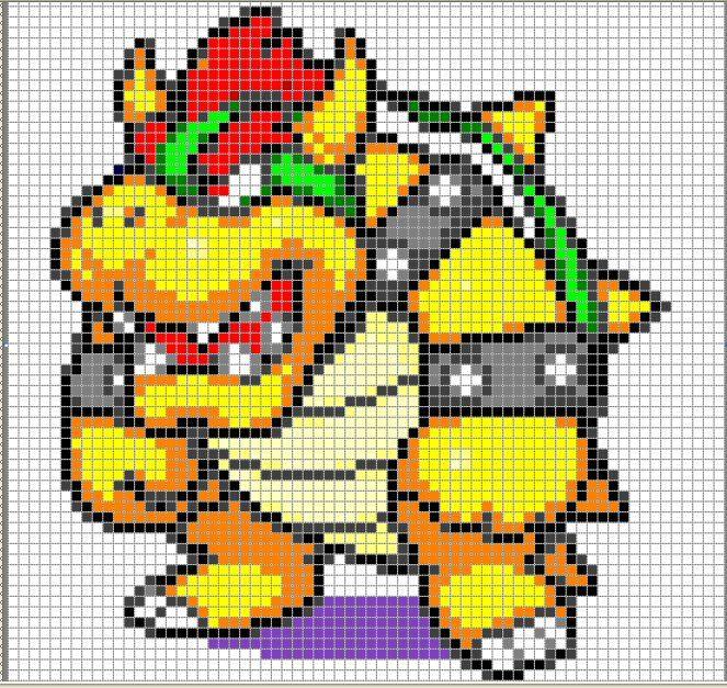 Bowser Cross Stitch Shirt Modele De Broderie Pixel Art A