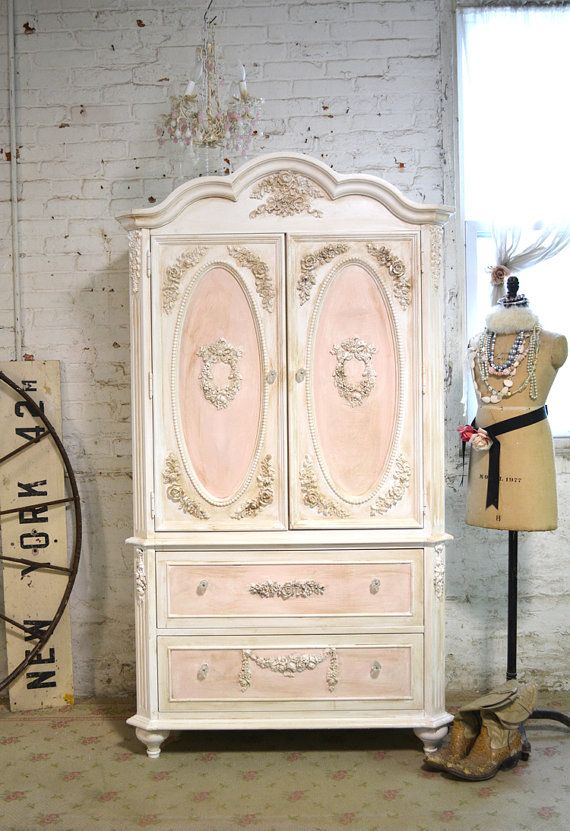 Painted cottage chic shabby romantic french armoire am165 - French shabby chic bedroom furniture ...