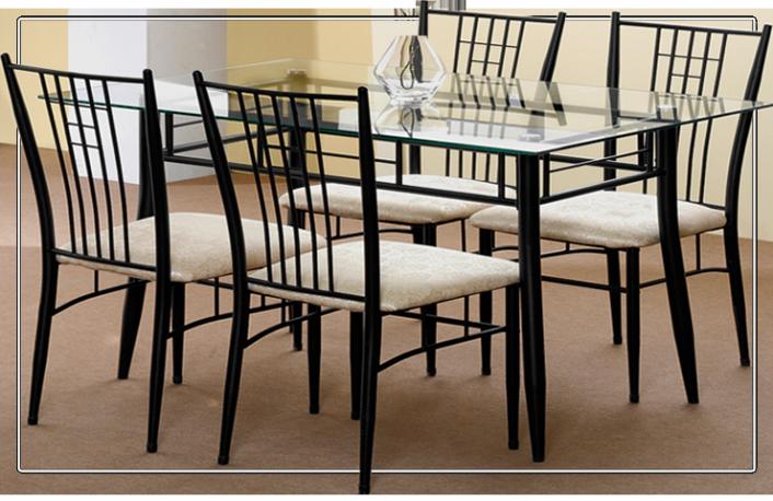 Mesa cristal y 4 sillas forja | Combos en 2019 | Sillas ...