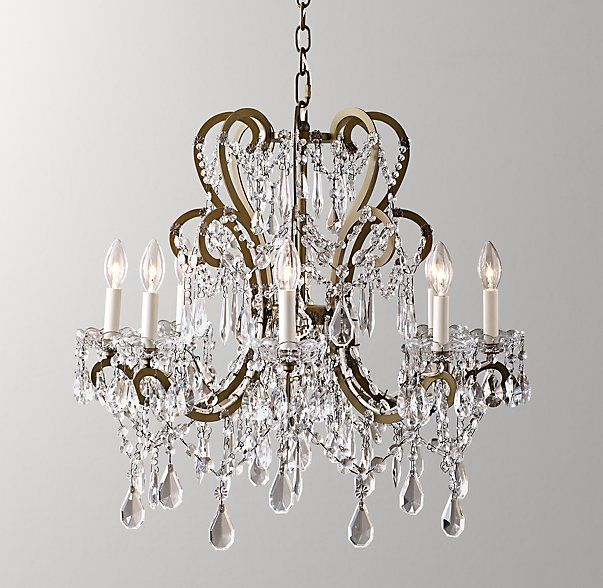 Rh Baby Child S Manor Court Crystal Chandelier Aged Gold Inspired By An Antique Find Our Regal Scrolling Arms Are Dd With Strands Of