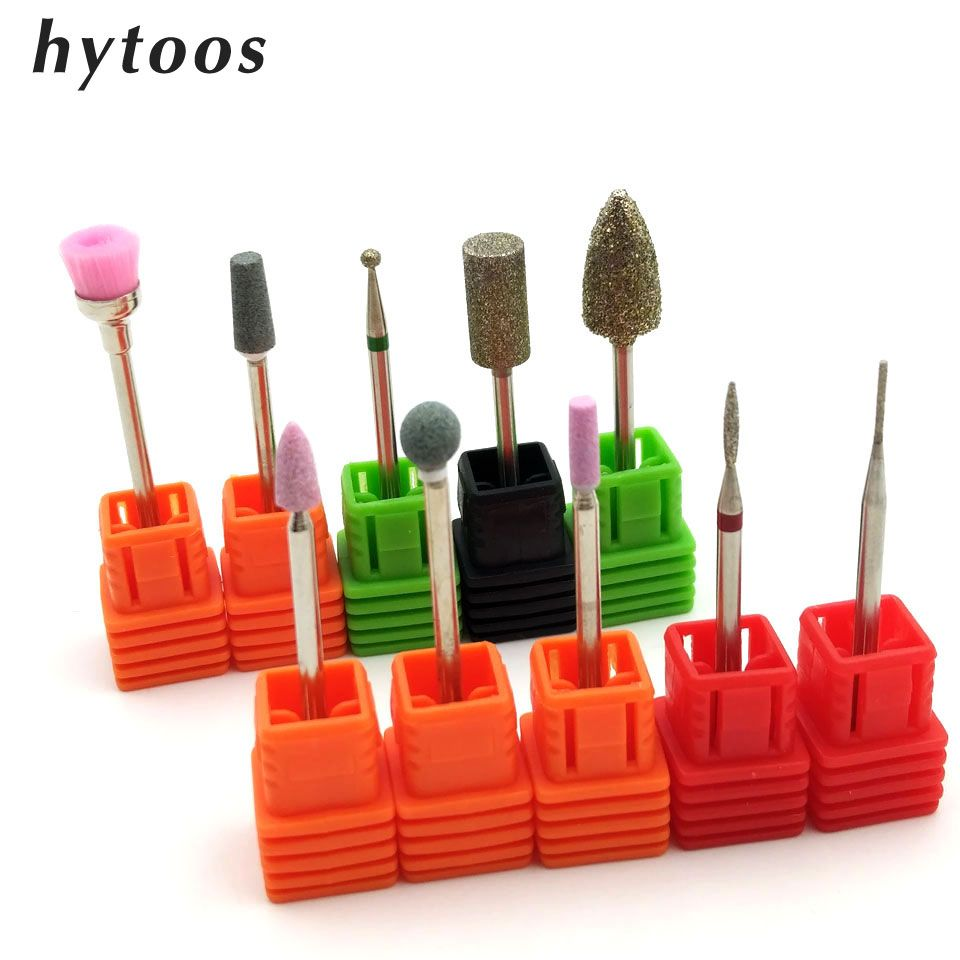 HYTOOS 10 PCS Diamond Nail Drill Bit 3/32\