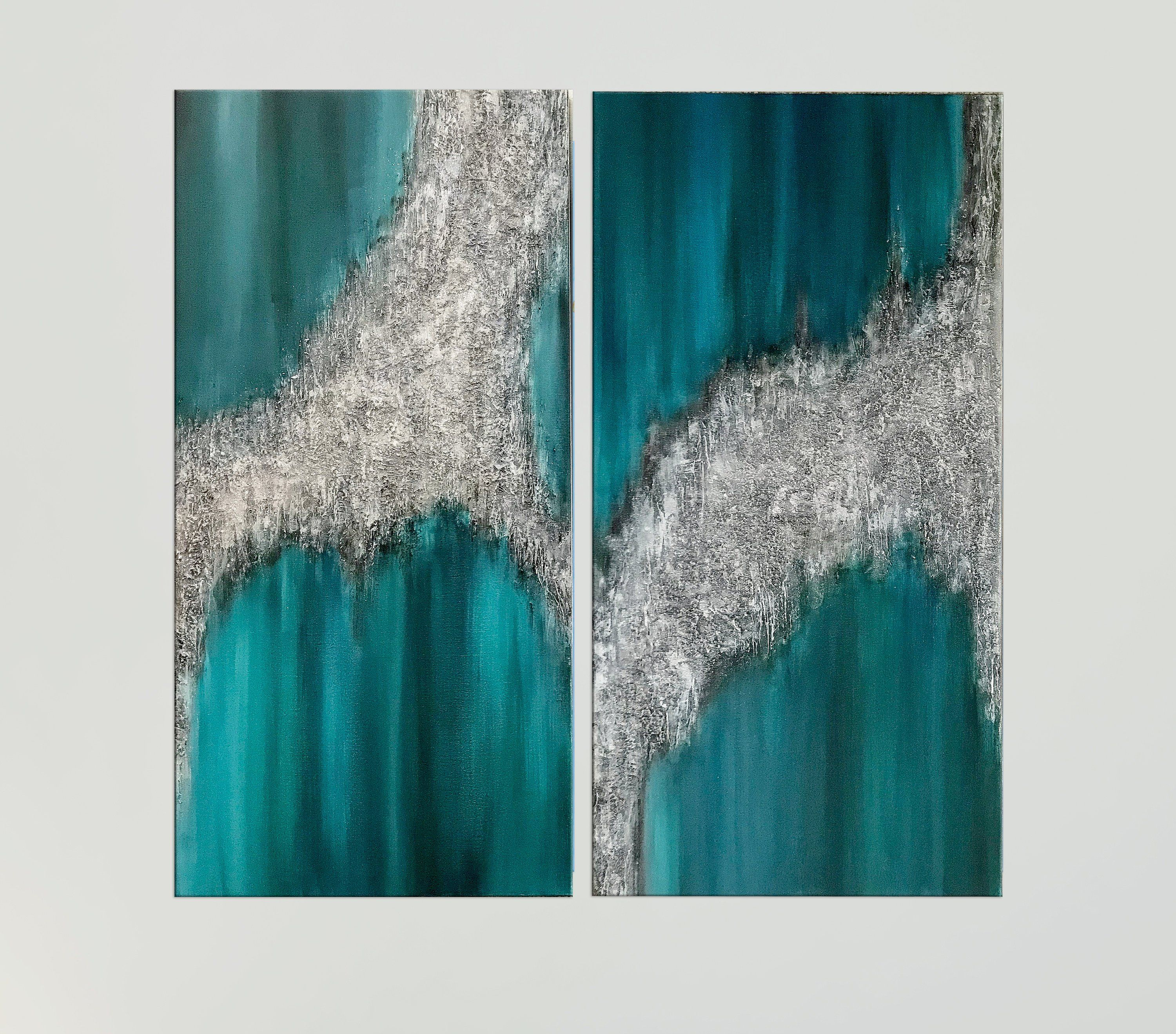 Teal Wall Art Silver Glitter Art Modern Abstract Art Canvas Etsy Teal Wall Art Modern Art Abstract Glitter Wall Art