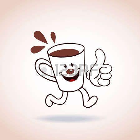 cafe dibujo: Personaje de dibujos animados taza de café mascota ...