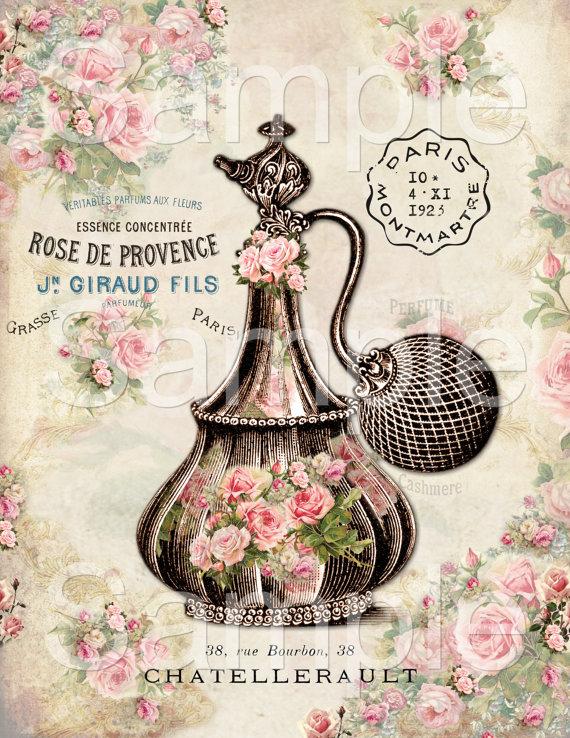 INSTANT DOWNLOAD - Rose De Provence   - 8.5 x 11 inch Single Image -  Printable Digital Collage Sheet - Digital Download