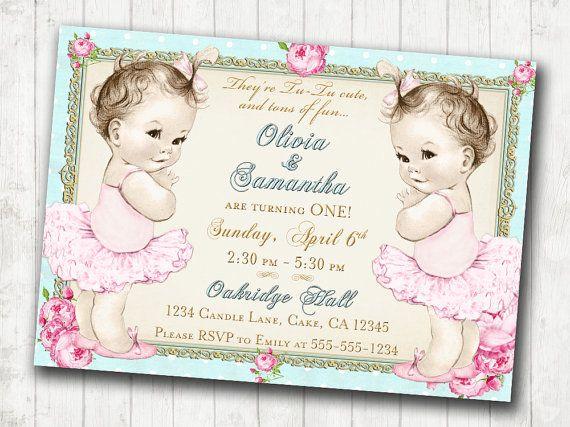 Twins 1st Birthday Invitation for Twin Girls Shabby Chic