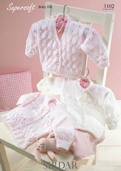 Knitting Pattern Baby cardigans DK sirdar 3102 size 16-26inch new ...