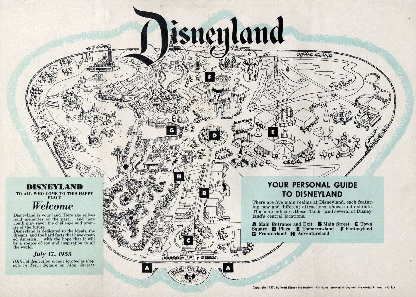Vintage Map Of Disneyland 1957 Two Years After Opened