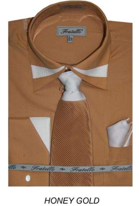 Mens french cuff dress shirt with matching tie and hanky for Mens shirts with matching ties