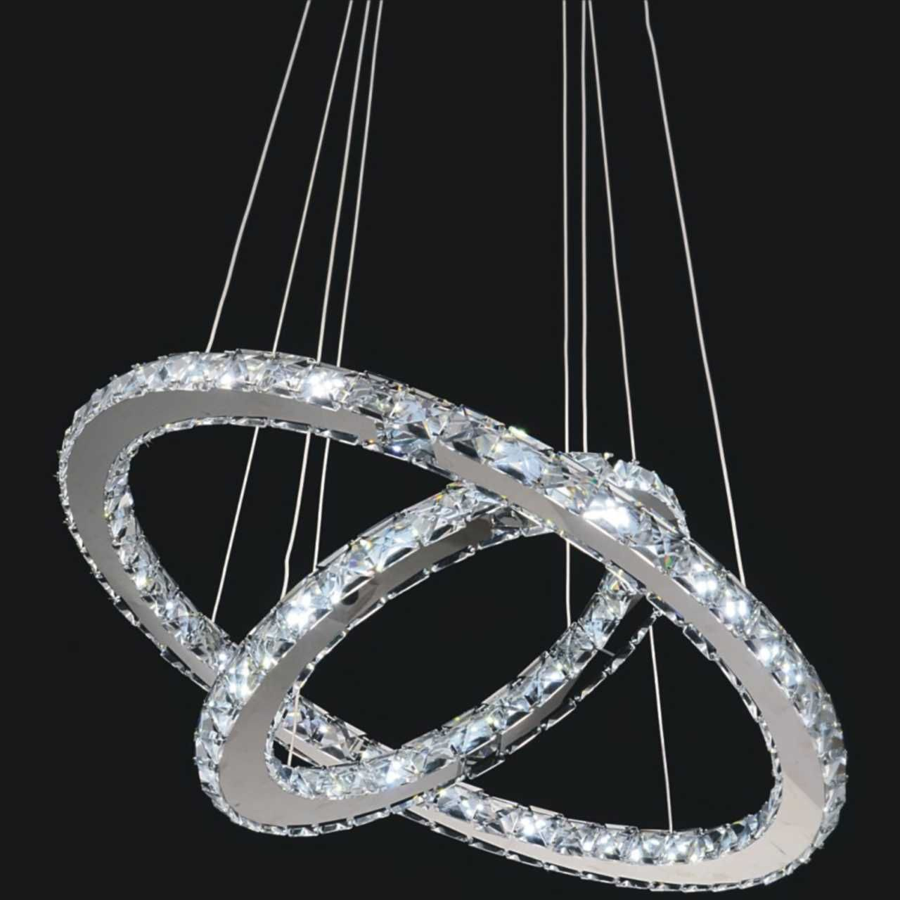 Double Ring Modern Crystal Chandelier LED Lights – Modern Crystal Chandeliers