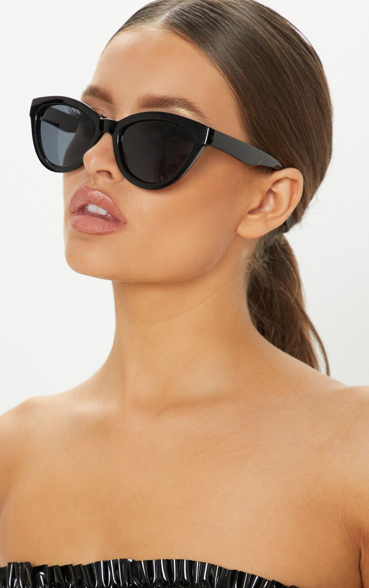Cat Eye Shiny Frame Sunglasses 2019Products Oversized In Black vn80NwmO