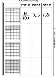 Convert Fractions to Decimals, Percents--find other math worksheets