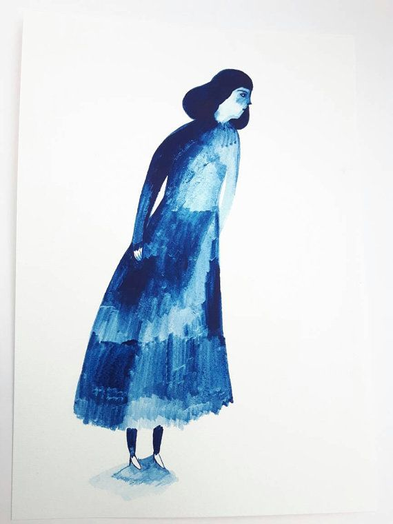 Gouache Lady Number 15 Original Painting On Paper Original