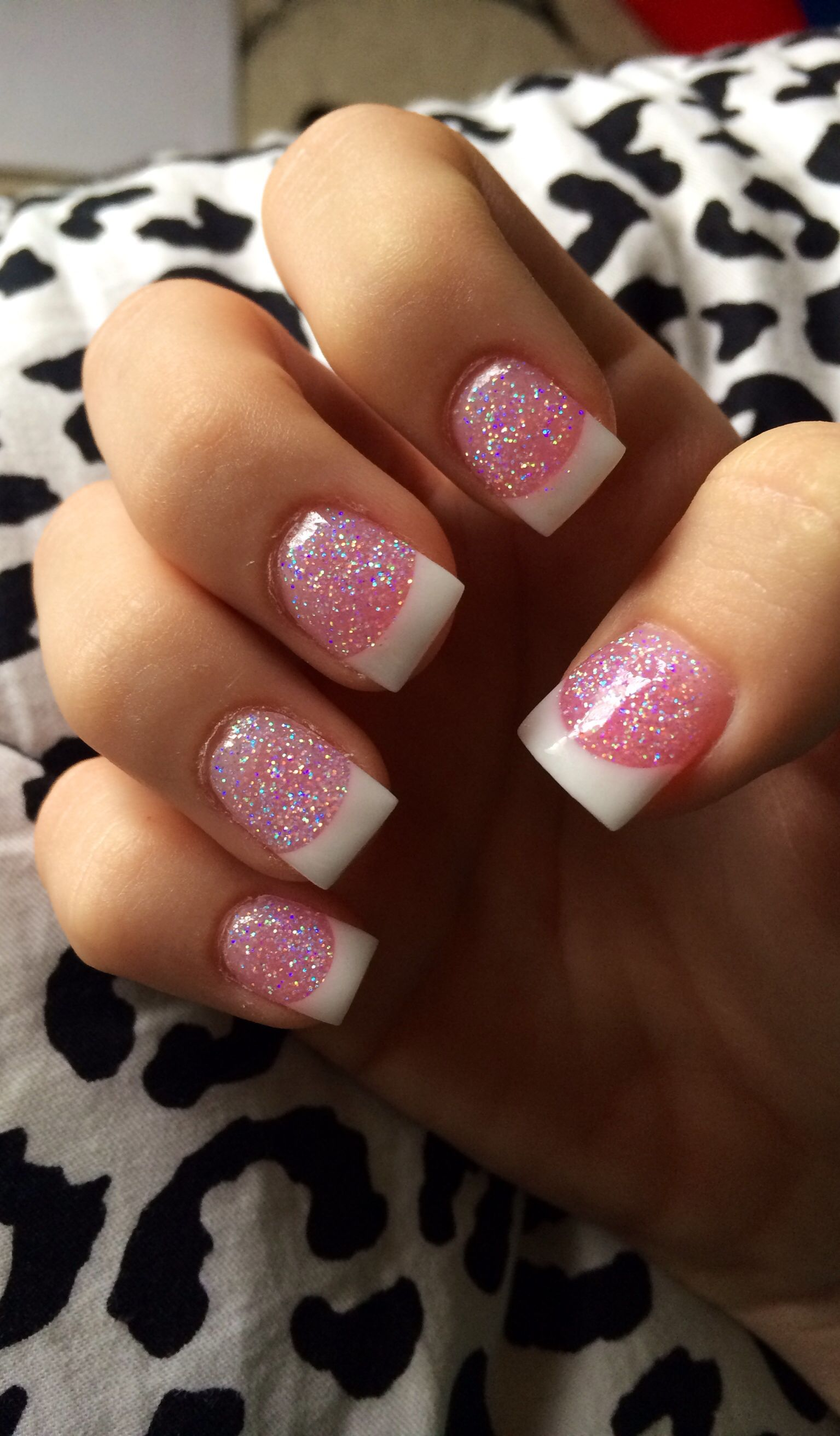 French tip nails with glitter :) | new nails | Pinterest | Makeup ...