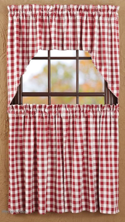 Buffalo Check Valence Curtains Buffalo Red Check Curtain Panels Swag Prairie Curtain Tiers Valance Curtains Primitive Kitchen French Country Kitchens
