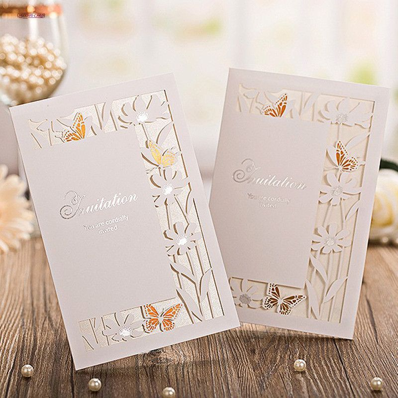 handmade wedding cards ireland%0A      New   Pcs lot Laser Cut Bronzing Wedding Invitation Card  Wedding  Favors Hollow Butterfly