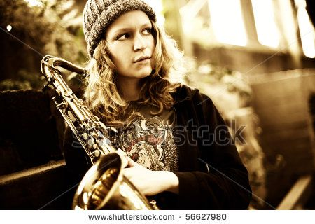 Saxophone in shabby factory