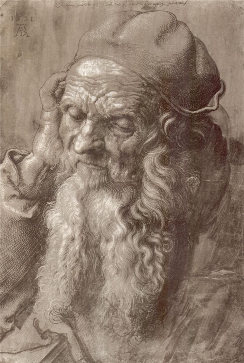 "Brush and Ink Portrait: Albrecht Dürer, ""Man Aged 93,"" 1521."