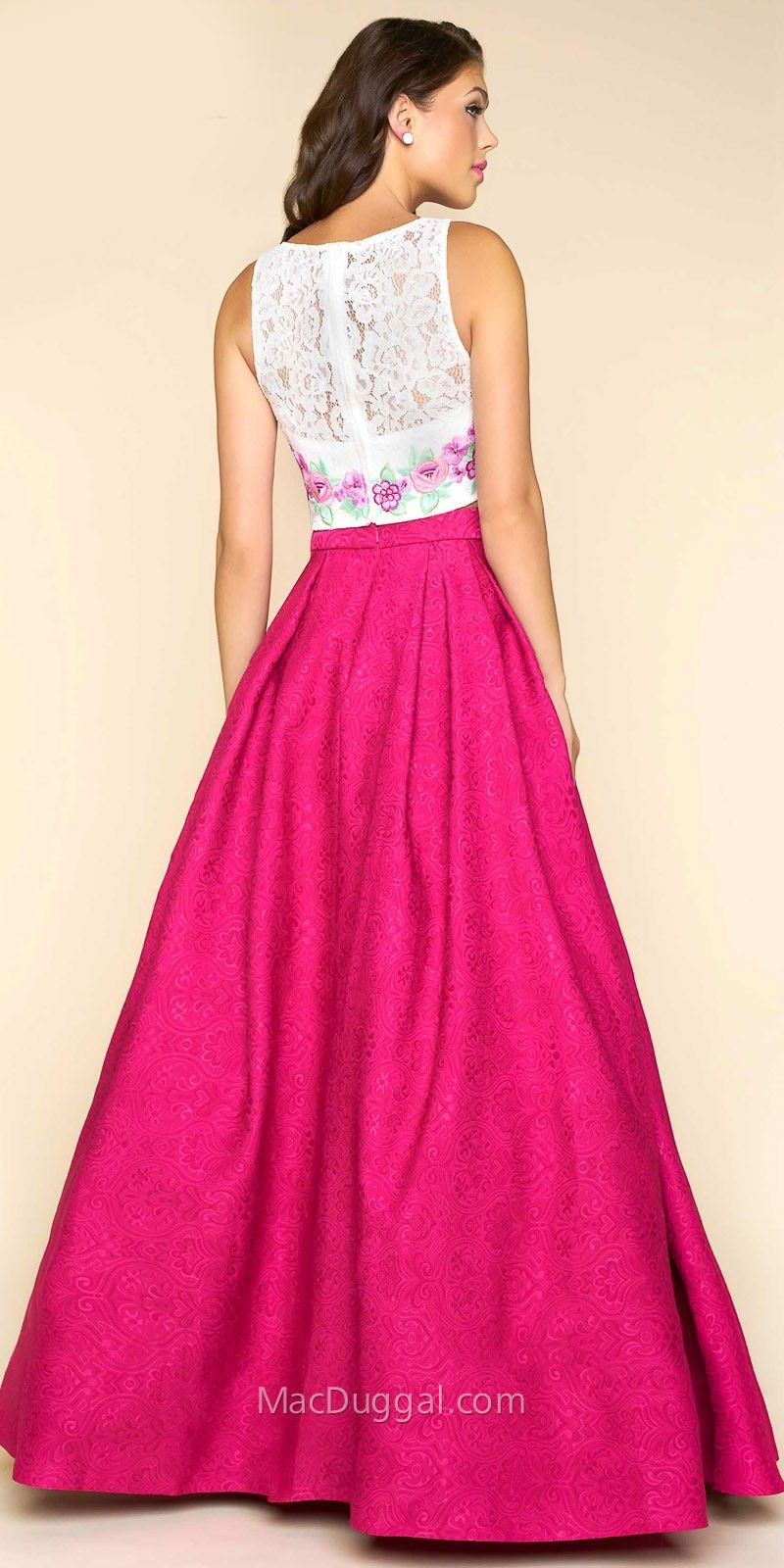 Two Piece Brocade Floral Embroidered Prom Dress By Mac Duggal ...