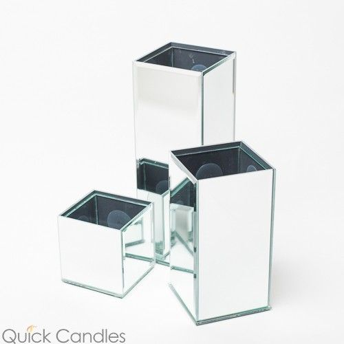 Richland Mirrored Square Vase 3 Sizes Set Of 3 Supplies