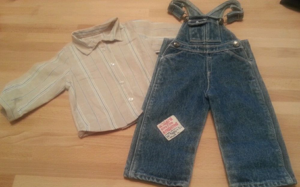 "American Girl 18/"" Doll Kit Retired Overalls Hobo Outfit Striped Shirt ONLY"