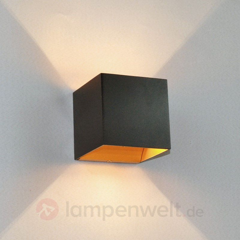 led wandleuchte aldrina schwarz innen gold wandlampe. Black Bedroom Furniture Sets. Home Design Ideas