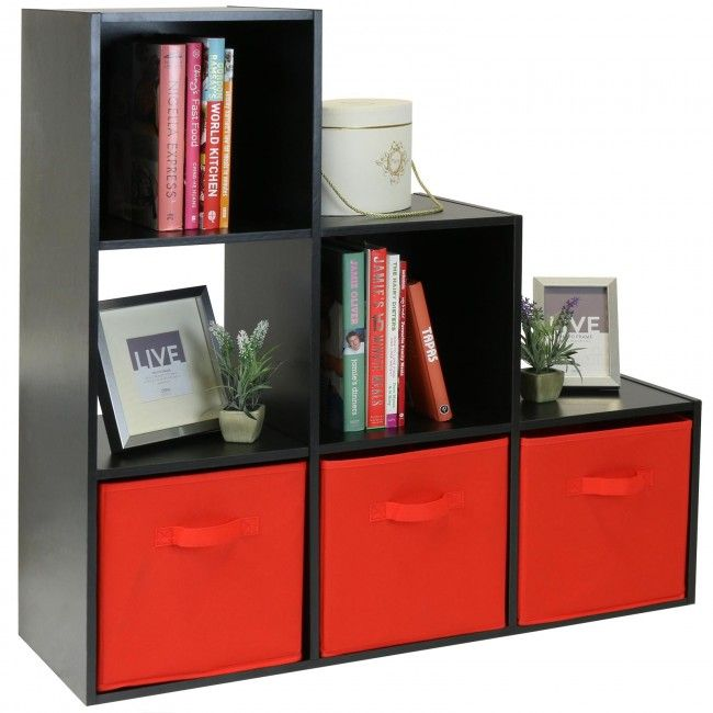 Storage And Cat Stairs Hartleys Black 6 Cube Storage Unit With 3 Red Box Drawers Red Bedroom Decor Black Room Decor Boy Room Red