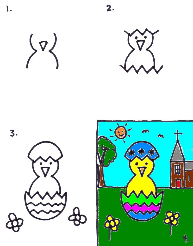 Easter Chick Drawing : easter, chick, drawing, Chalkboard