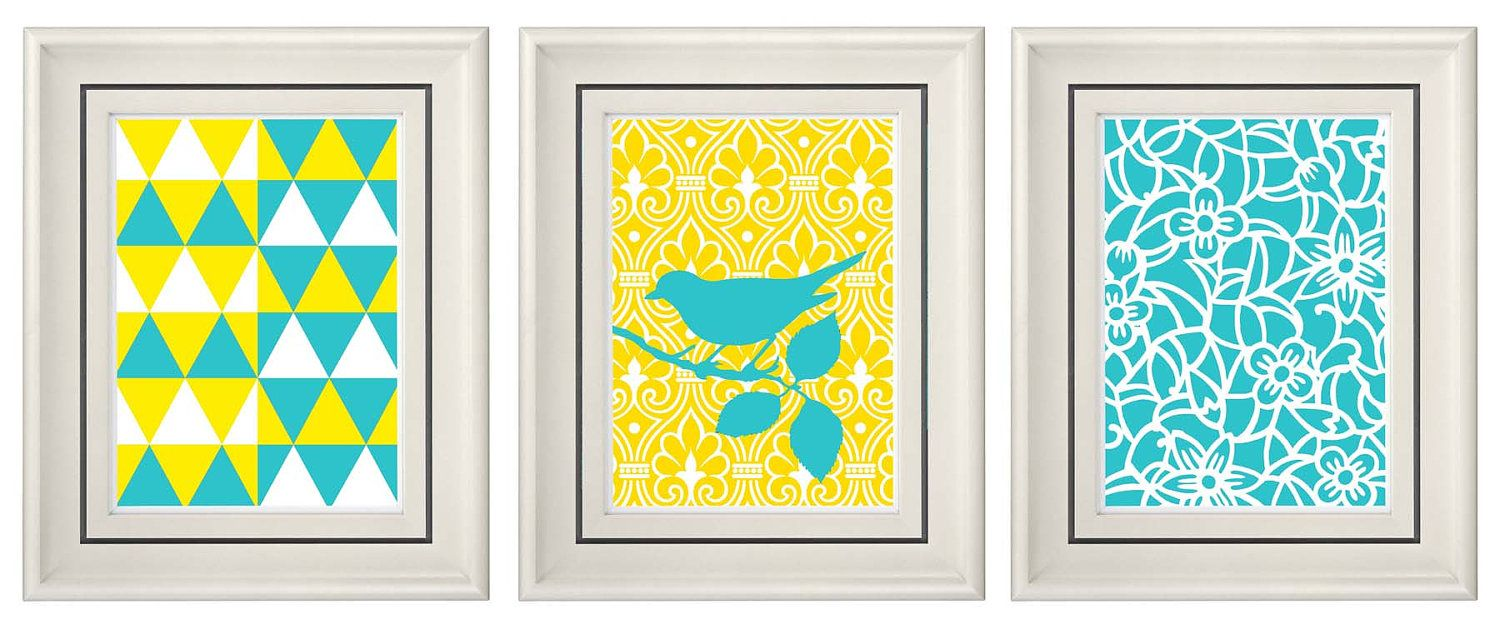 Set of Three Modern Turquoise/Yellow Wall Art - Print Set - Home ...