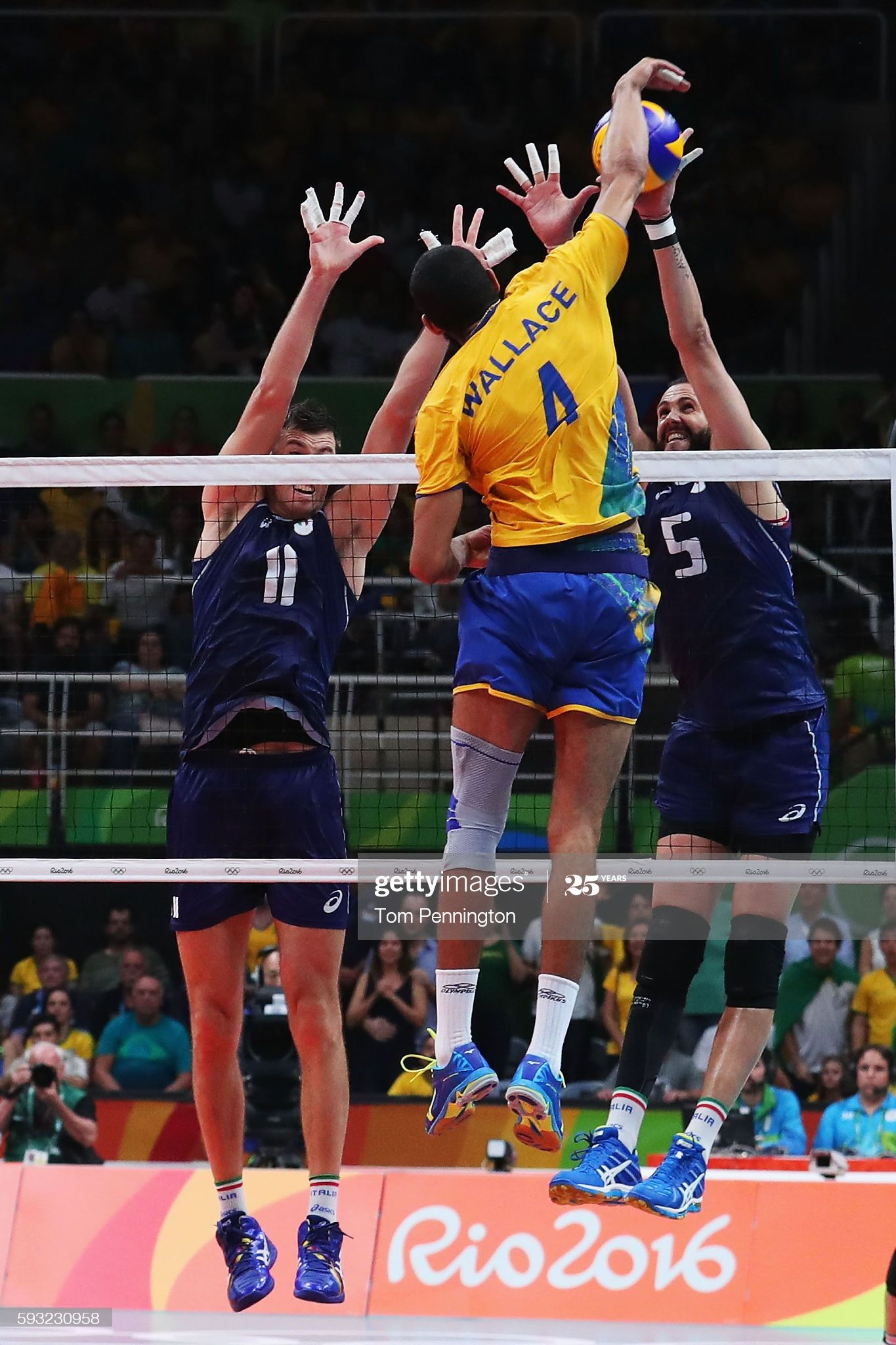 Simone Buti Of Italy And Osmany Juantorena Of Italy Block The Spike In 2020 Volleyball Photography Rio Olympics 2016 2016 Olympic Games