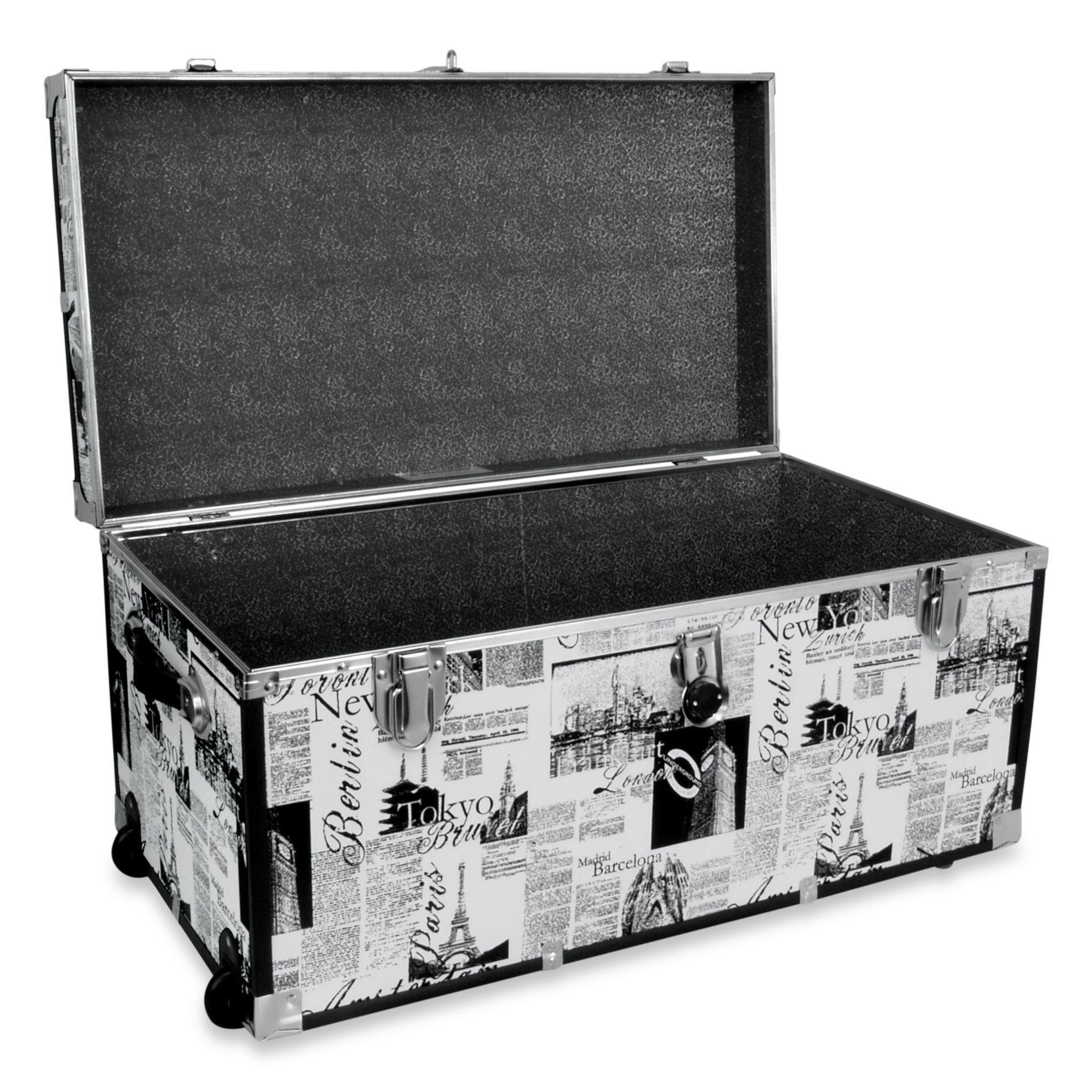 Storage Trunk With Wheels In Passport Print   BedBathandBeyond.com