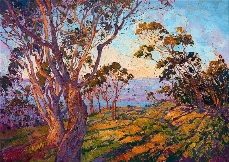 La Jolla Eucalyptus California impressionism landscape painting by Erin Hanson