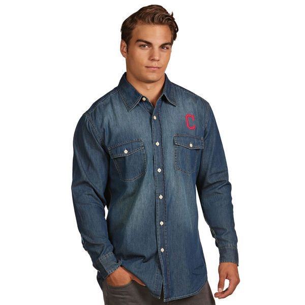 Cleveland Indians Antigua Chambray Button-Up Long Sleeve Shirt - Navy -  $52.99