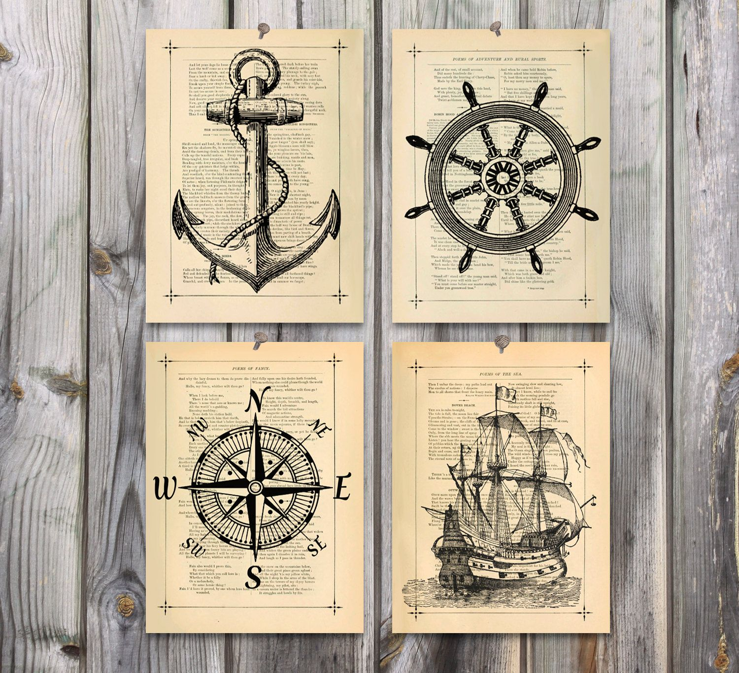 Baby Nash S Vintage Nautical Nursery: Nautical Art Poster Print Set Antique Drawing By