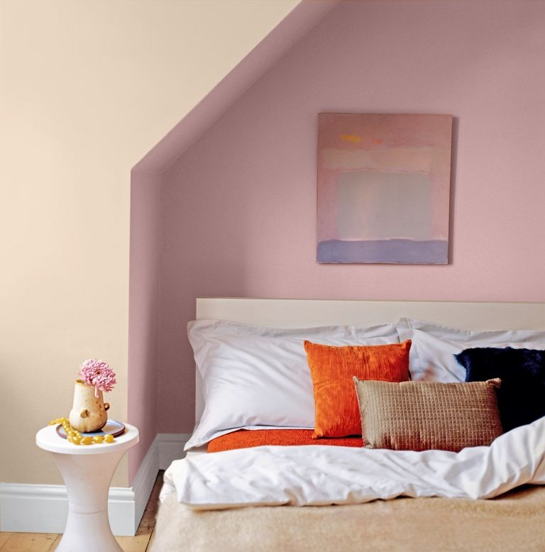 Dusky pink bedroom painted with Crown earthbalance