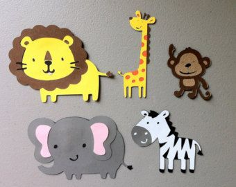 Klettergerüst Clipart : Set of 5 jungle safari animals monkey lion giraffe zebra