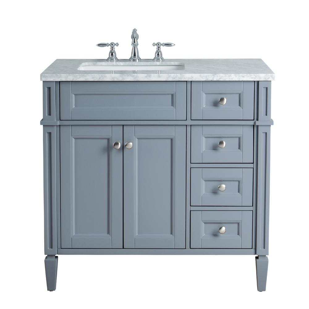 Stufurhome Anastasia French 36 In Grey Single Sink Bathroom Vanity With Marble Vanity Top And White Basin Hd 1524g 36 Cr The Home Depot Single Sink Bathroom Vanity Bathroom Sink Vanity Bathroom Vanity [ 1000 x 1000 Pixel ]
