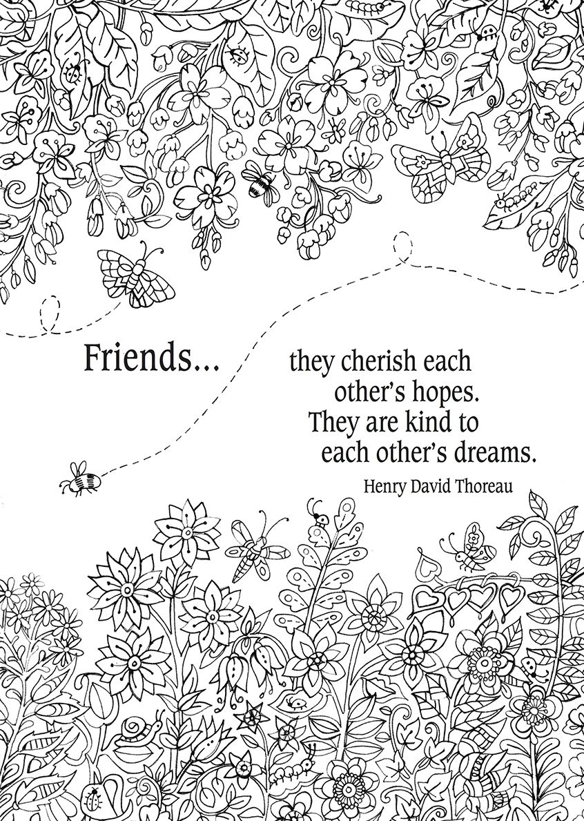 Friends...they cherish each other\'s hopes... #words #colouring ...