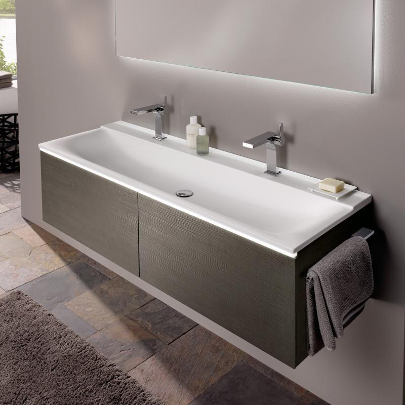 Keramag Xeno² Waschtisch B 160 H 48 cm ohne Überlauf, mit 2 - badezimmer doppelwaschbecken