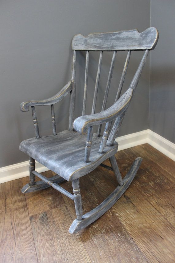 shabby chic kids rocking chair gray by on etsy