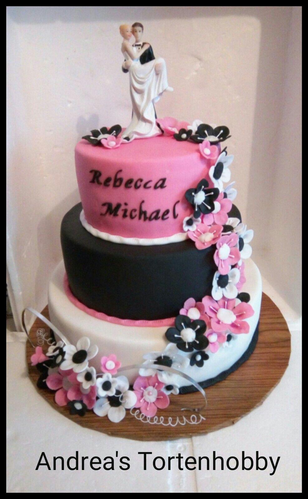 Wedding Cake Black Pink White Hochzeitstorte Schwarz Rosa Weiss