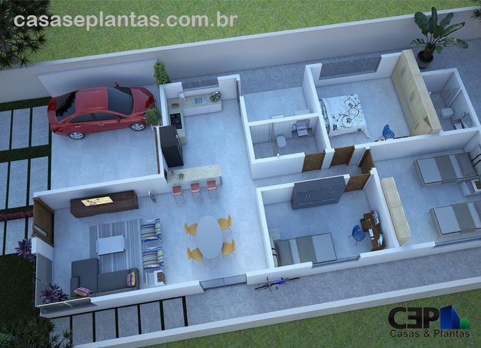 Planta de casa com 3 quartos sendo 1 su te 2 vagas de for Casas modernas de 70m2