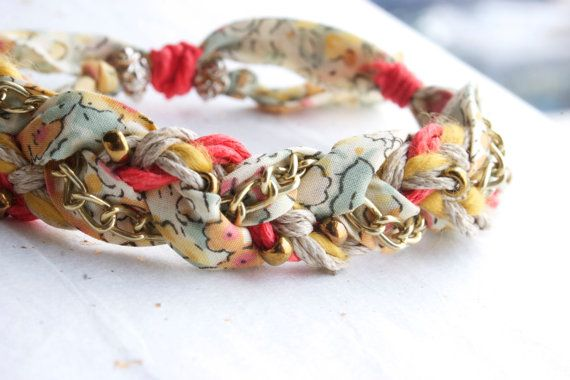 braided bracelet - liberty of london fabric w/ gold chain - spring colors