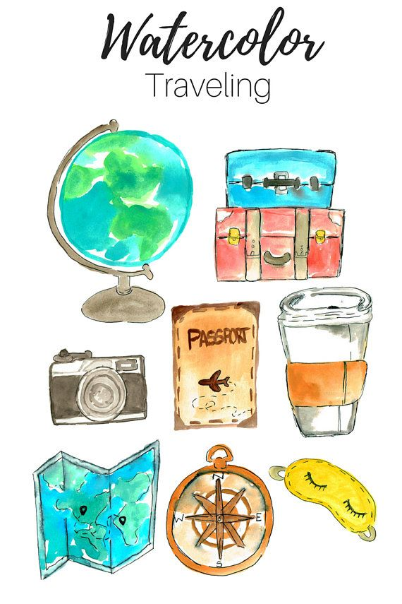 Travel Clip Art Watercolor Clip Art Traveling Clip Art Hand