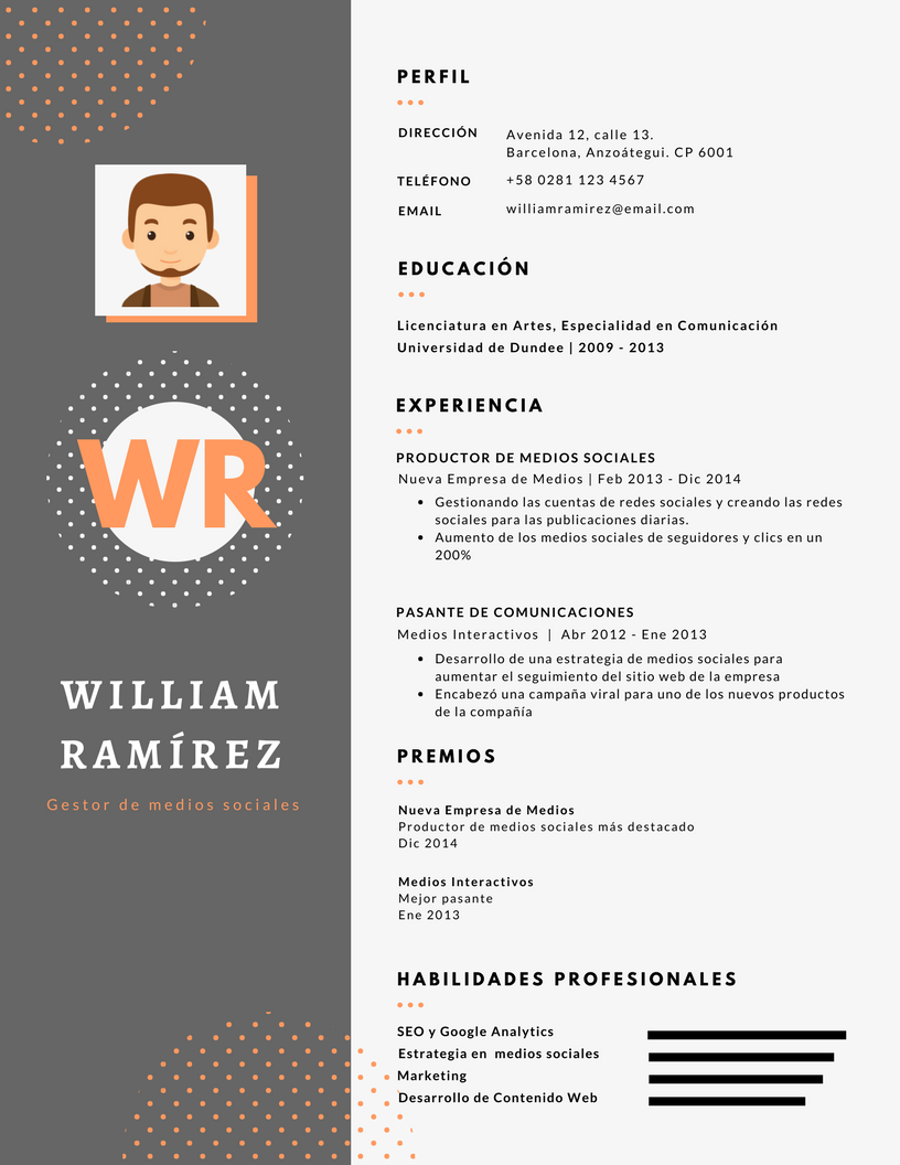 Desarrollo y Venta de Curriculum Vitae - modelo CV-0001-3 | CV ...