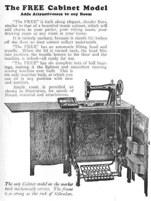 The Free Cabinet Model Treadle Sewing Machine Treadle Sewing Machines Antique Sewing Machines Sewing Machine Cabinet