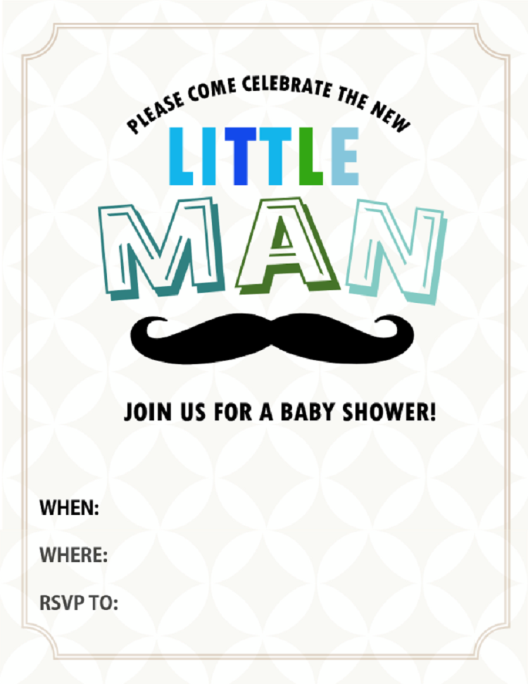 Little Man Baby Shower Invitations Templates Free