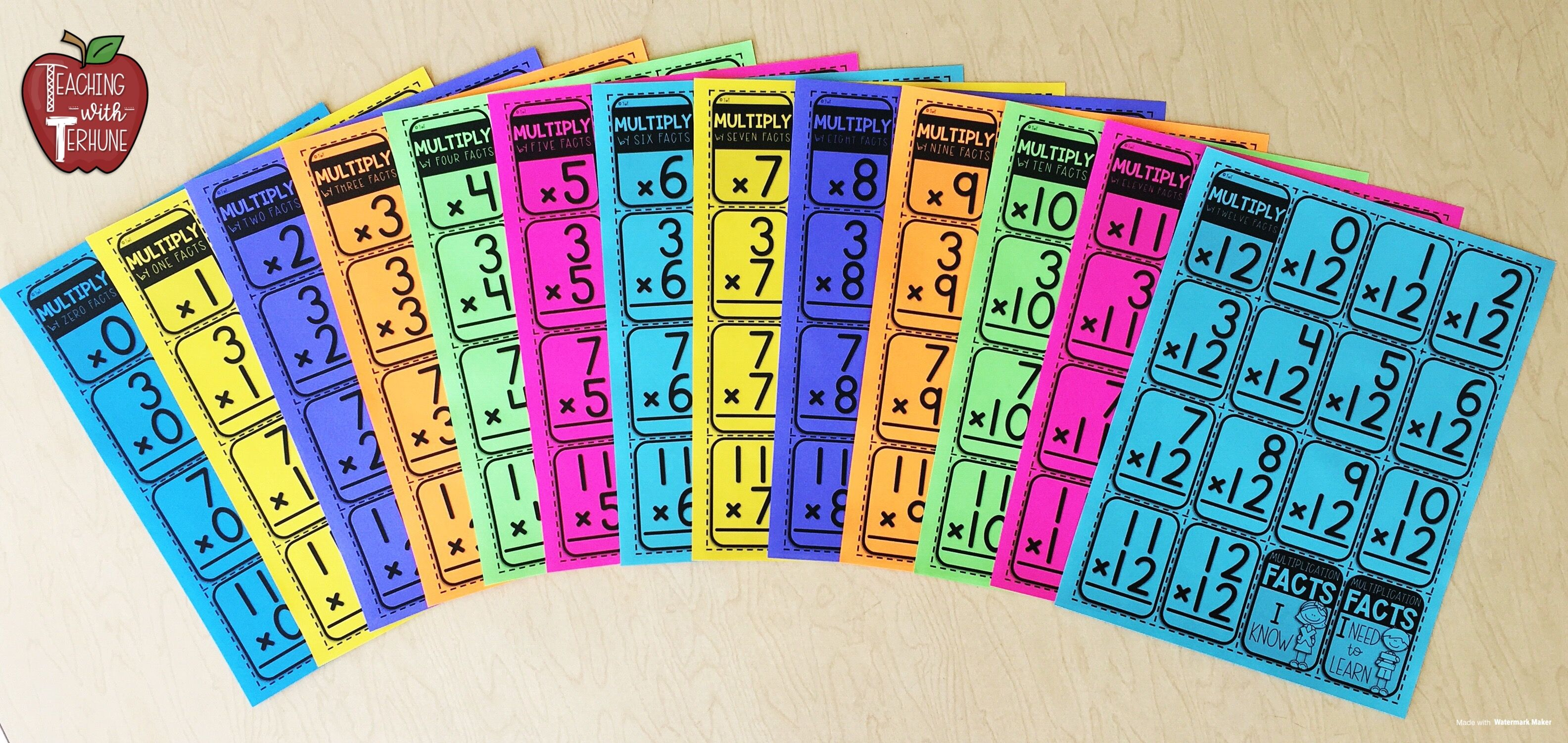 This is a picture of Printable Multiplication Flashcards With Answers on Back inside 5th grade multiplication