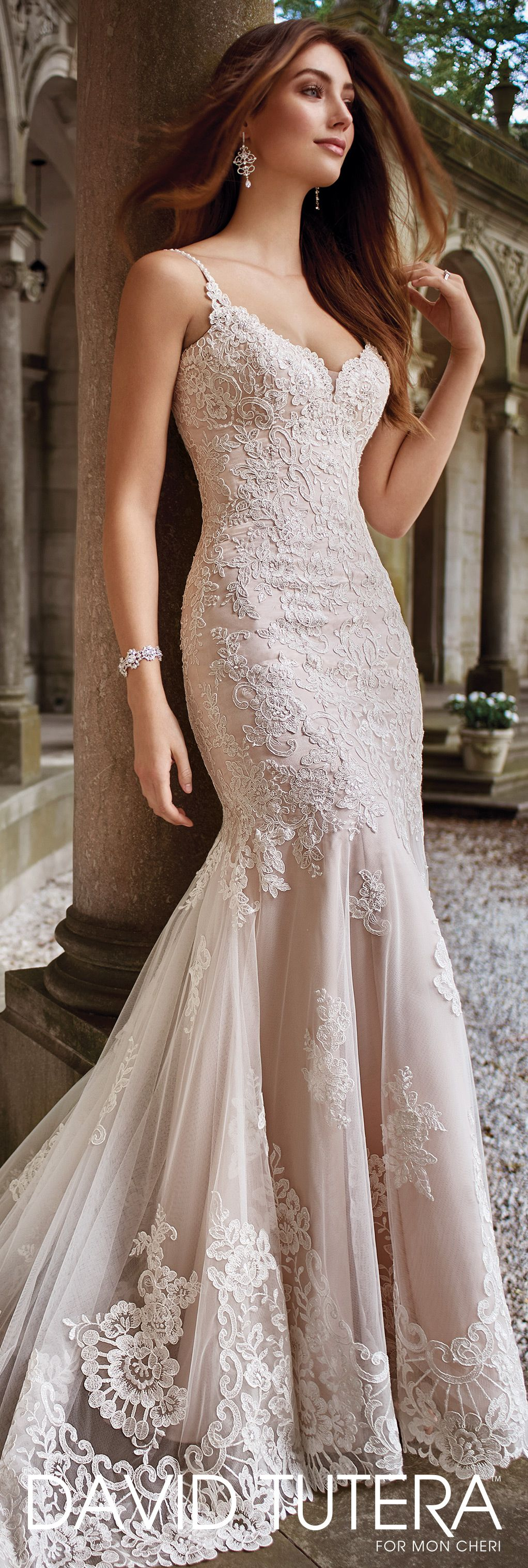 David Tutera for Mon Cheri Spring 2017 Collection - Style No. 117282 Kula - sleeveless lace and tulle sheath wedding dress with sheer lace overskirt
