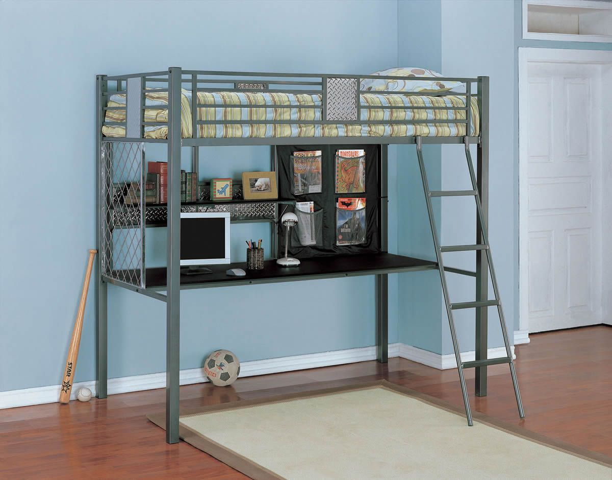 Metal loft bed with corner desk - Interesting Loft Bed With Carpet White Color And Ladder